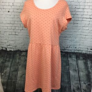 Maison Jules Coral Orange Dot Fit & Flare Dress XL